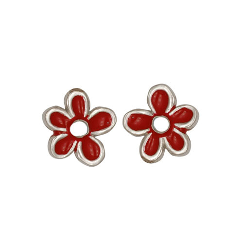 Blümchen Ohrstecker rot/weiß