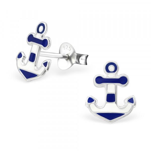 OS Anker blau/weiß 925 Silber