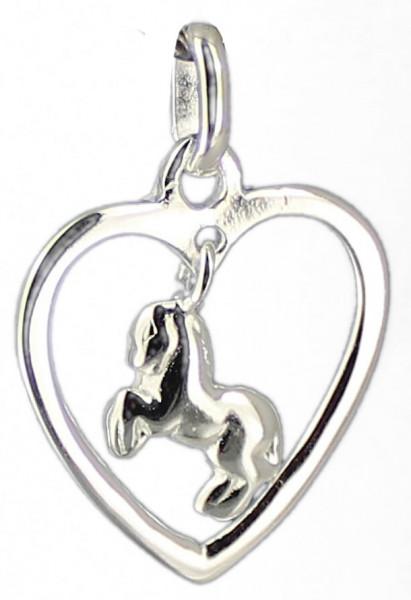 AH Pferd im Herz 20 mm 925 Silber e-caoted