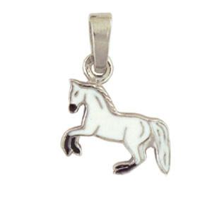 Pferd Anhänger silber und weiß