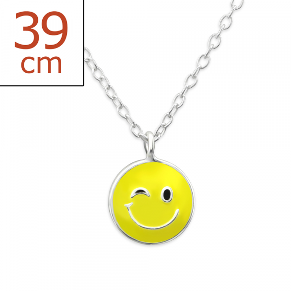 Kette Smiley gelb 36 cm 925 Silber