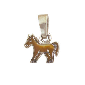 Pferd Anhänger silber und braun