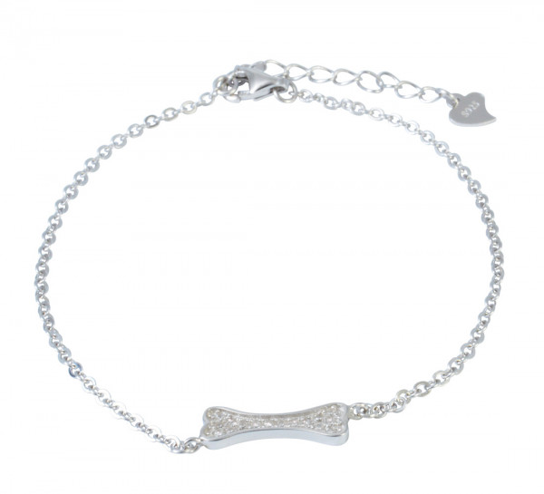 AB Knochen Glitzer 16 cm + 3,5 cm Verlängerung rhodiniert 925 Silber