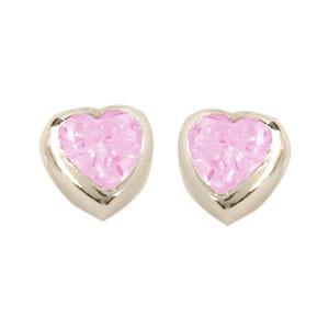 Herz Ohrstecker mit Kristall rosa