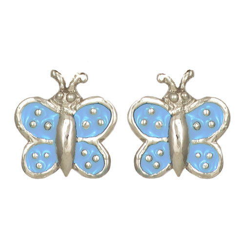 Schmetterling Ohrstecker hellblau