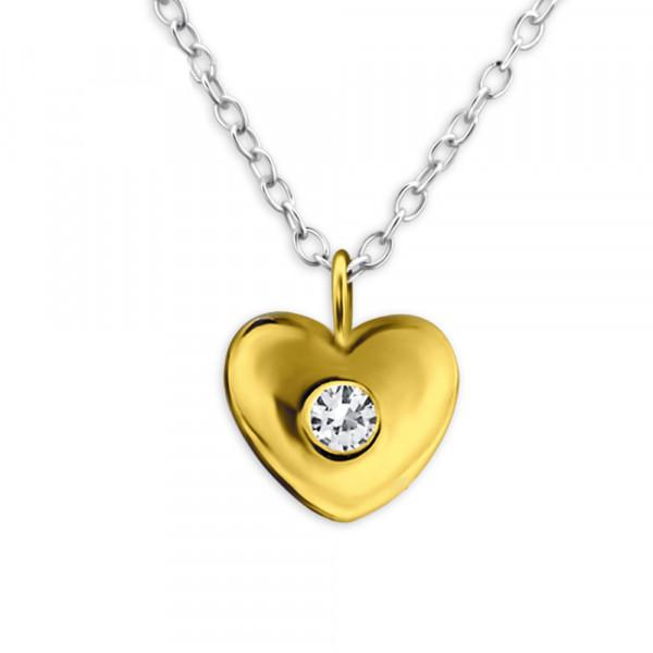 Kette vergoldetes Herz mit Zirkon 45 cm 925 Silber