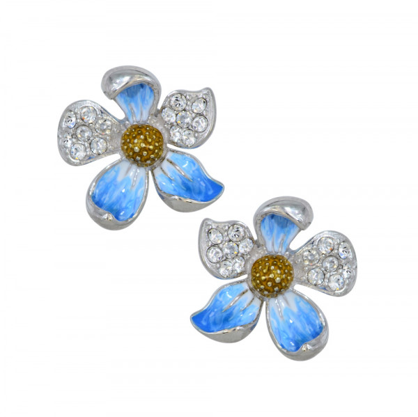 *OS bleue Blüte mit Kristall