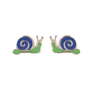 Schnecke Ohrstecker blau/grün