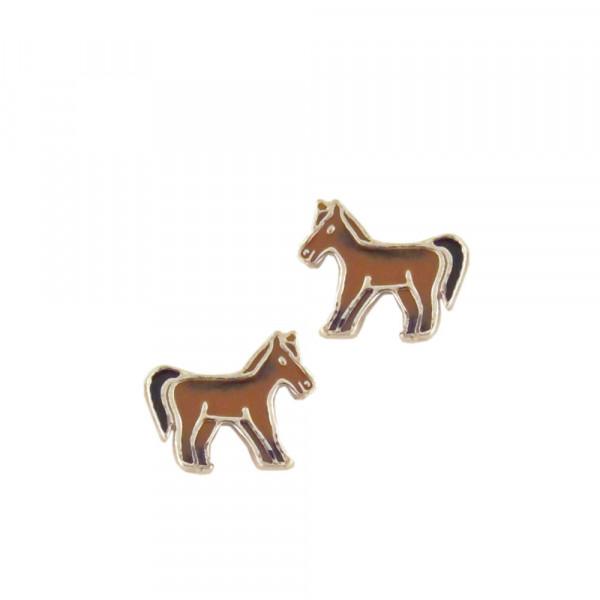 OS kleines braunes Pony 925 Silber e-coated