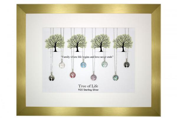 8 Ketten 'Tree of life' Lebensbaum PAUA/MOP mit Rahmen 925 Silber