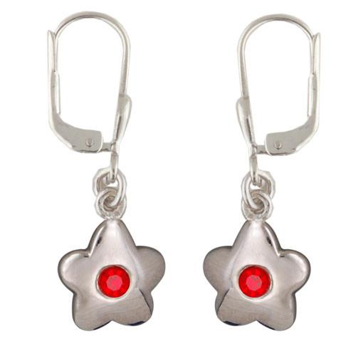 Blüte Ohrhänger mit Kristall rot