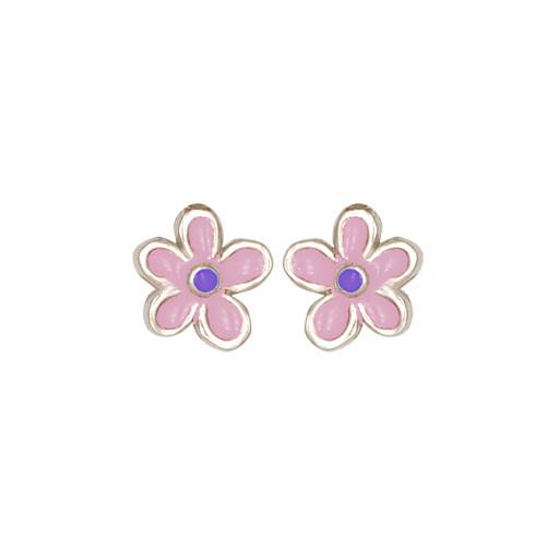 Blümchen Ohrstecker rosa/lila