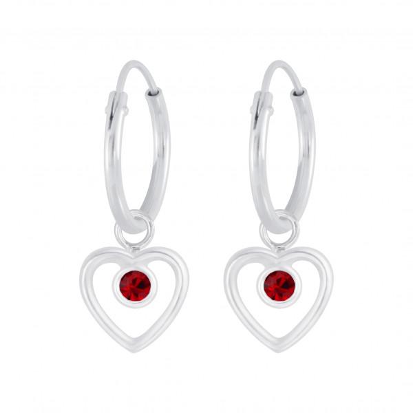 Creole 12 mm roter Kristall Herz Einhänger 6 mm 925 Silber e-coated