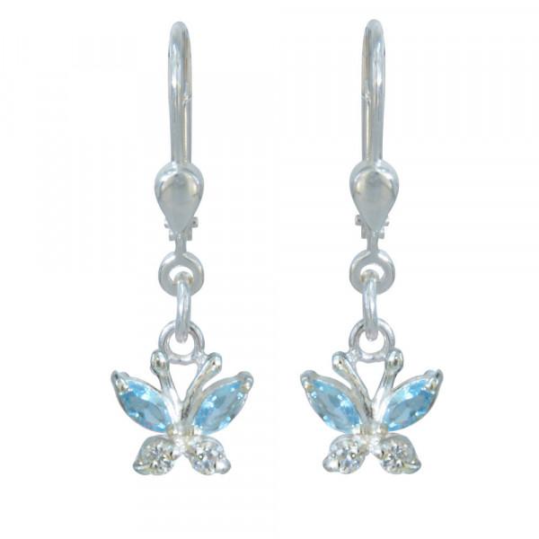 OH Kristallschmetterling blau/weiß 925 Silber