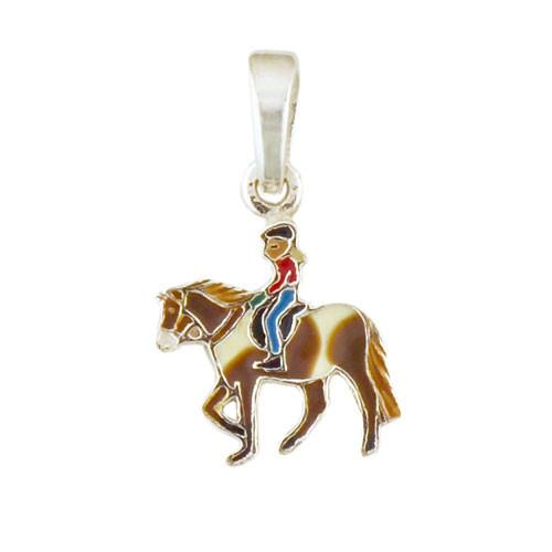 Pferd mit Mädchen Anhänger silber und hellbraun