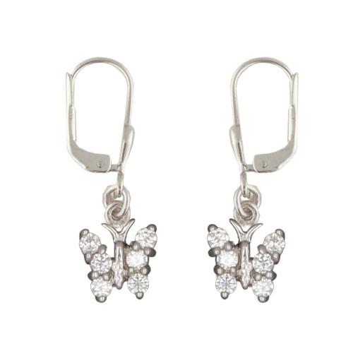 OH Schmetterling mit weißen Kristallen 925 Silber