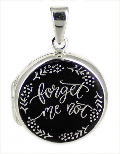 """AH Medaillon """"forget me not"""" rund black 925 Silber"""