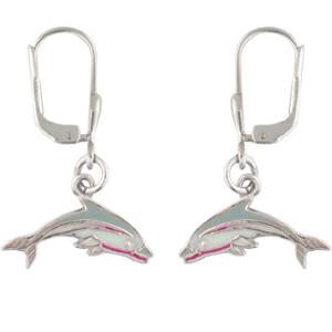 OH Delphin grau/weiß 925 Silber