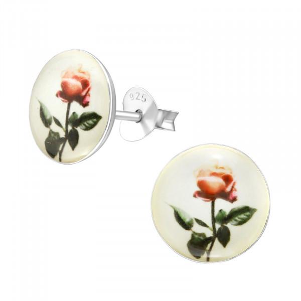OS Cabouchon romantische Blume 925 Silber e-coated