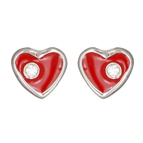 Ohrstecker Herz rot mit Kristall 925 Silber e-coated