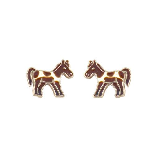 Pferd Ohrstecker silber und braun