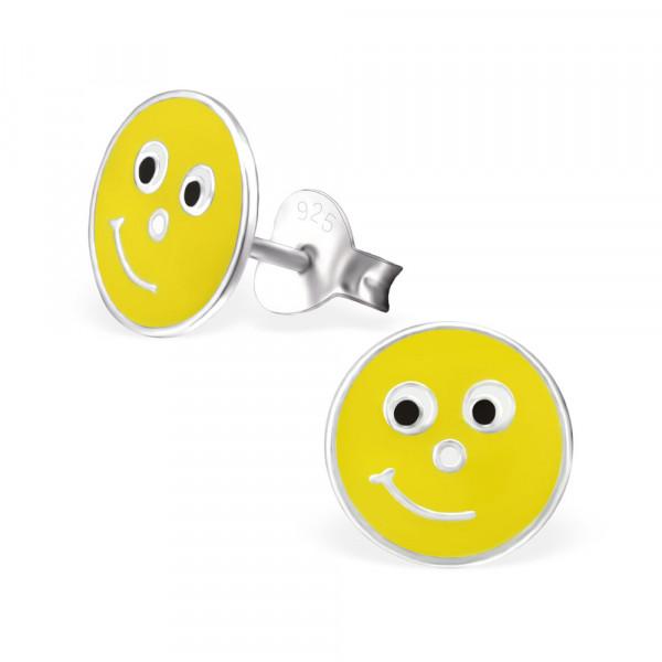 OS Button Emoticon Smile gelb 925 Silber
