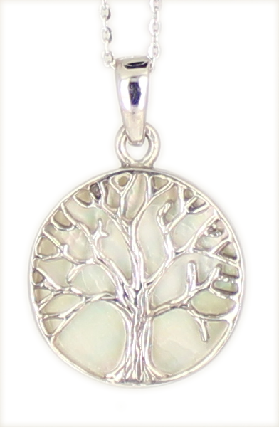 Kette 'Tree of life' Lebensbaum WHITE Mother of Pearl 925 Silber rhodiniert