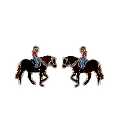 Pferd mit Mädchen Ohrstecker silber und schwarz