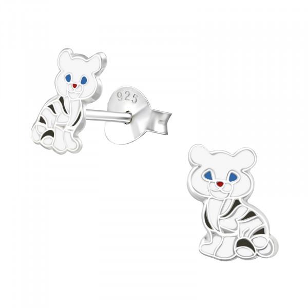 OS Kätzchen weiß gestreift 925 Silber e-coated