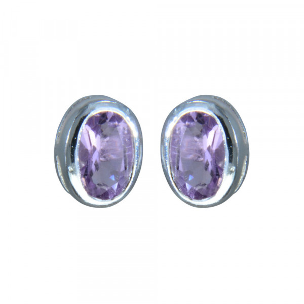 OS oval ECHT Amethyst 925 Silber