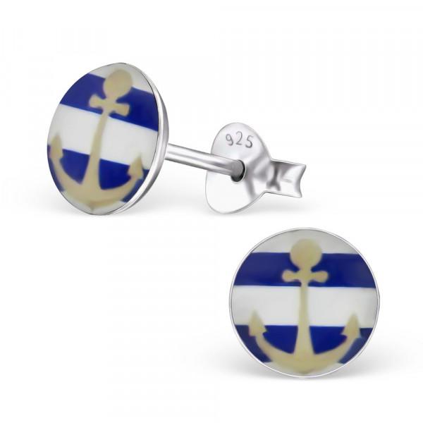 OS Button mit Anker 925 Silber blau-weiß gestreift