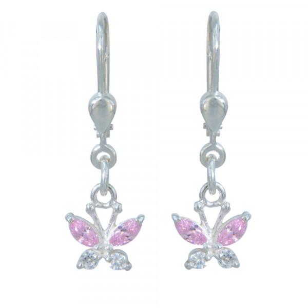 OH Schmetterling mit rose/weißen Kristallen 925 Silber