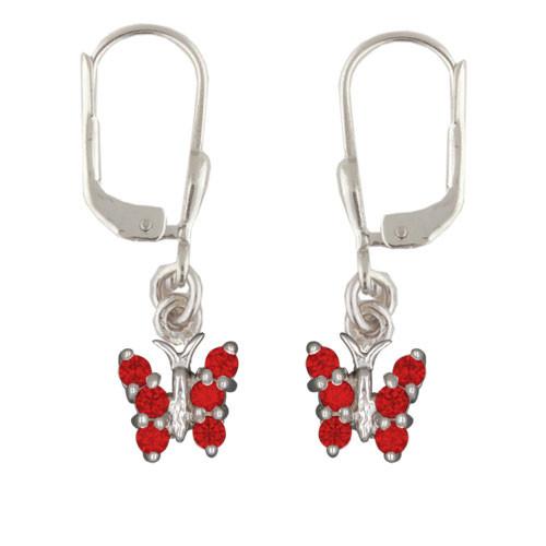 OH Schmetterling mit roten Kristallen 925 Silber