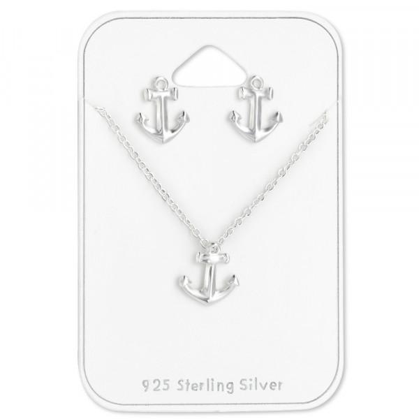 SET OS/Kette Anker schlicht 925 Silber
