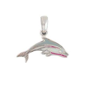 Delphin Anhänger grau/weiß