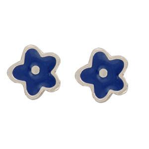 Blume Ohrstecker blau
