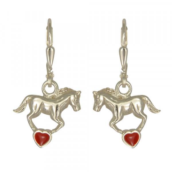 OH Pferd auf rotem Herz 925 Silber
