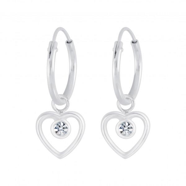 Creole 12 mm weißer Kristall Herz Einhänger 6 mm 925 Silber e-coated