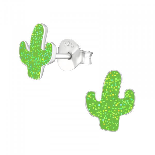 OS kleiner grüner Kaktus mit Glitzer 925-Silber e-coated