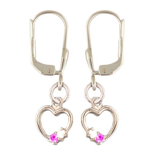 **OH Herz mit 2 Kristallen rosa/weiß 925 Silber