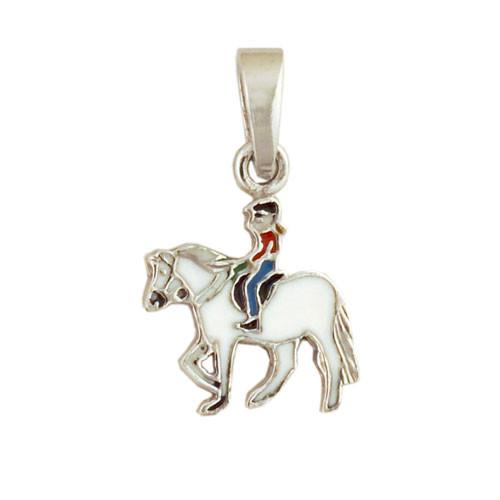 Pferd mit Mädchen Anhänger silber und weiß