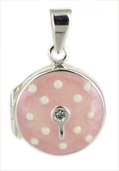 AH Medaillon Pünktchen/Zirkon baby-pink rund 925 Silber