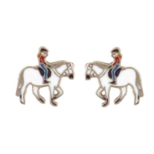 OS weißes Pferd mit Mädchen 925 Silber e-coated