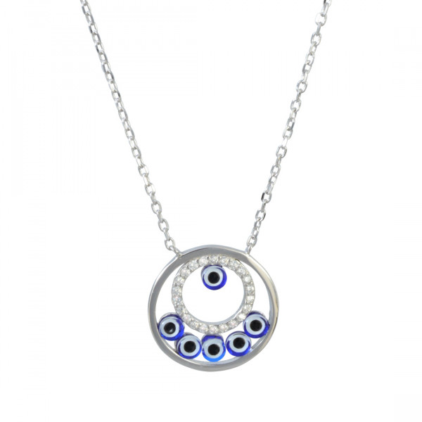 Kette Glitzer+ Blue rhod.925 Silber 45 + 3,5 cm Verlängerung