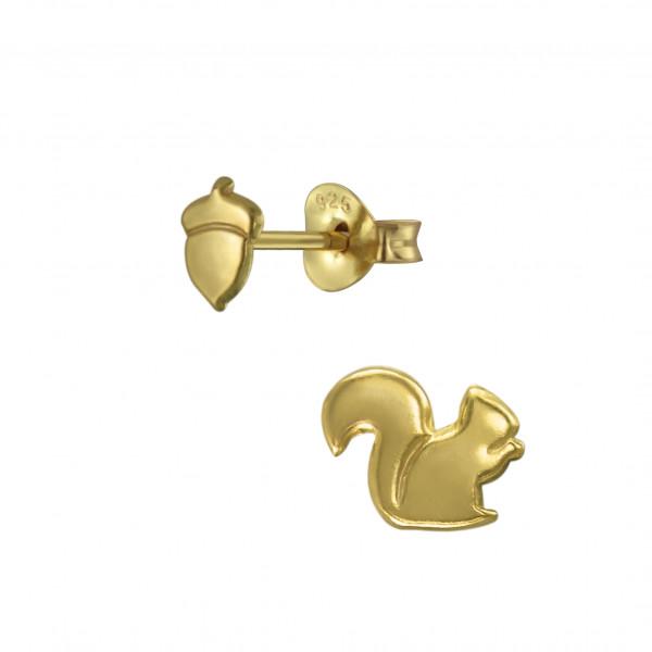 OS Eichhörnchen mit Nuss 925 Silber vergoldet