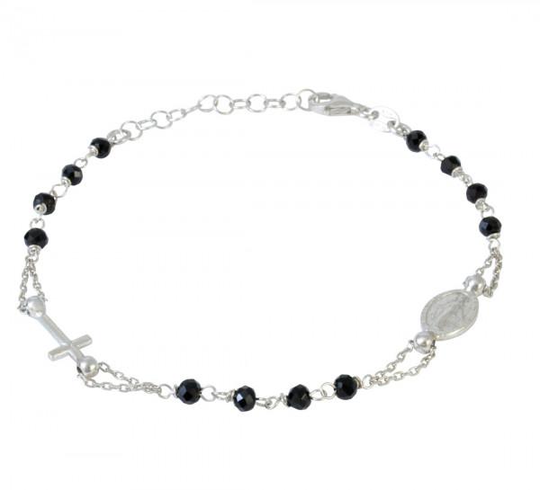 AB Heiligenbild mit Kreuz u. schwarzen Perlen 925 Silber rhod. 18 cm + 3 cm Verl.