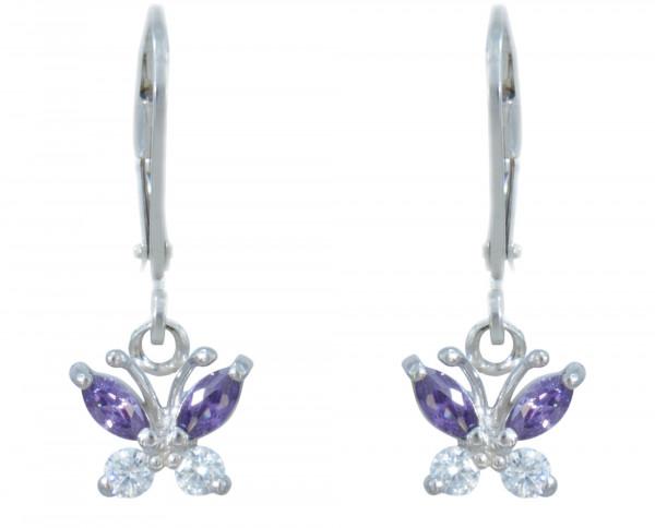 OH Kristallschmetterling lila/weiß 925 Silber