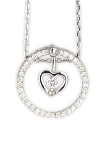 Kette Herz Dancing Diamond rhod.925 Silber 45 + 3,5 cm Verlängerung