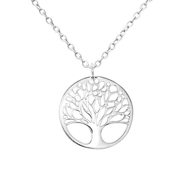 Kette Baum des Lebens 22 mm 925 Silber e-coat 45 cm