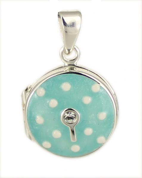AH Medaillon Pünktchen/Zirkon baby-bleue rund 925 Silber